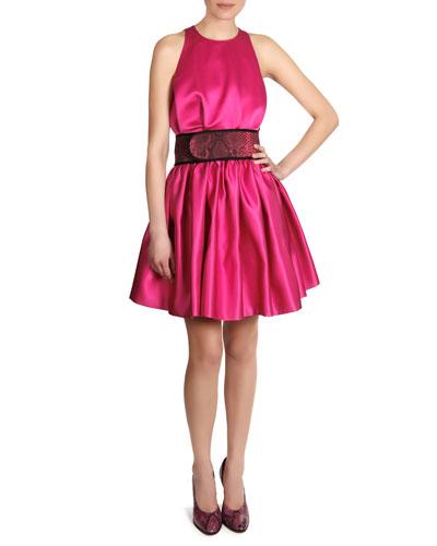 Satin Sleeveless Cinch-Waist Dress