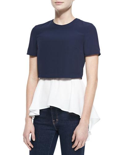 Layered Crop/Peplum Top, Blue/White