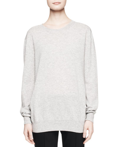 Rose Cashmere Sweater Top, Gray Melange