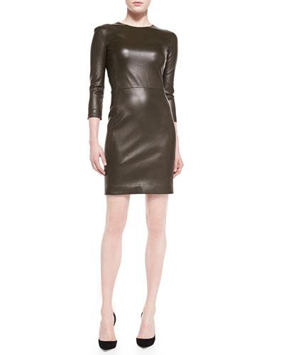 Leverton Shiny Leather Sheath Dress