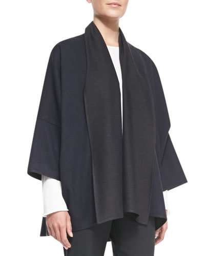 Sloped Shoulder Shawl Jacket, Navy/Coal