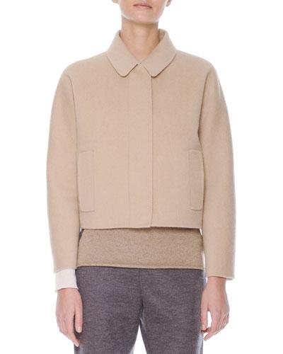 Wool Zip-Front Bomber Jacket