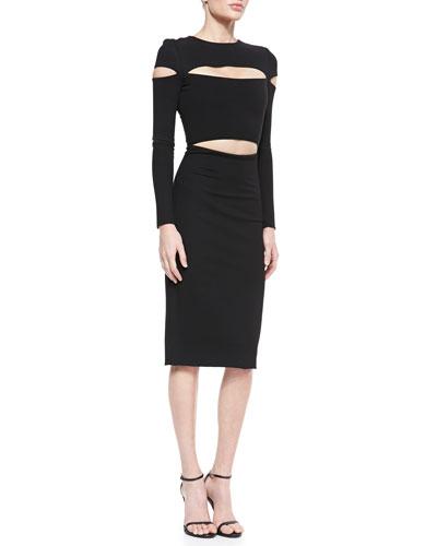 Dondi-Jersey Slit-Sleeve Cutout Dress