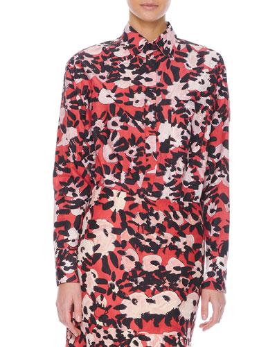 Long-Sleeve Floral-Print Chest-Pocket Blouse