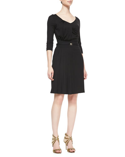 1/2-Sleeve Pleated Jersey Dress, Nero Black