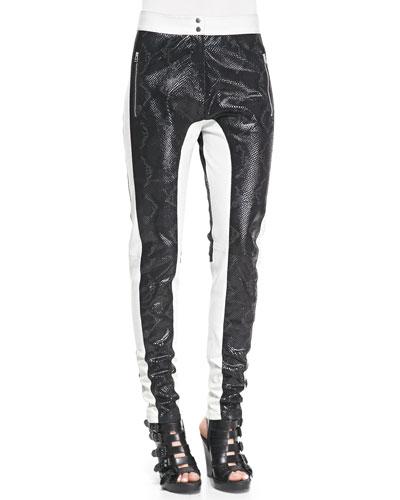 Python-Embossed Paneled Leather Pants, Black/White