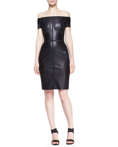 Off-Shoulder Leather Dress with Lace Insets