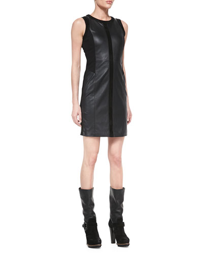 Sleeveless Paneled Leather Combo Dress