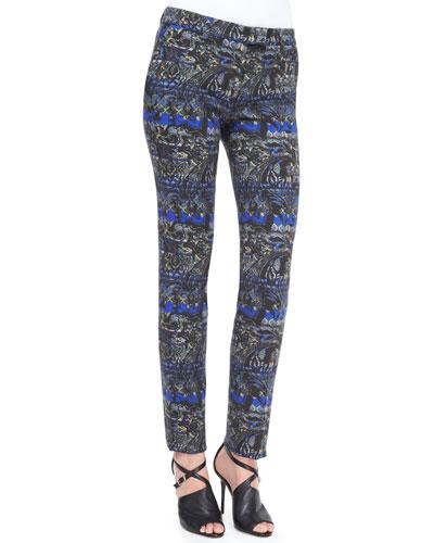 Stenciled Paisley Slim Pants