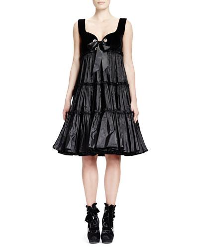 Velvet-Top & Taffeta-Skirt Dress