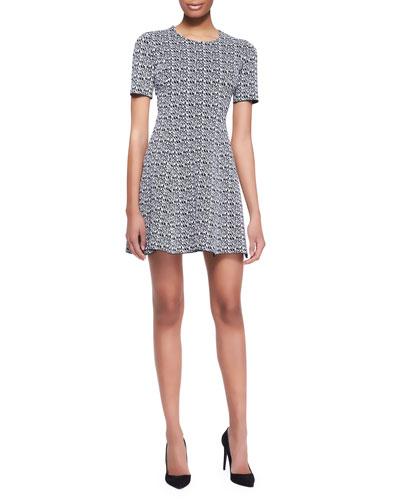 Printed Tech-Knit Flare Dress
