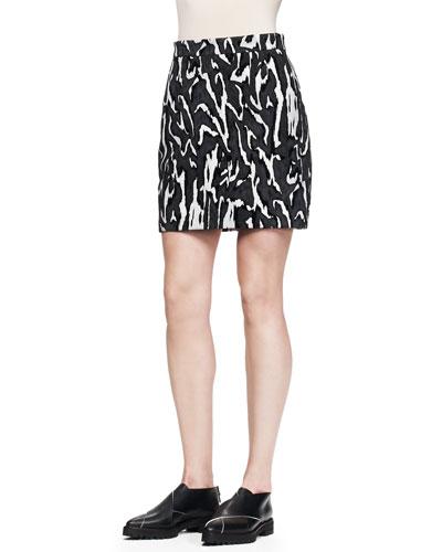 Printed Flocked Mini Skirt, Slate Moire