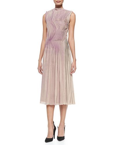 Sleeveless Painted Plisse Dress