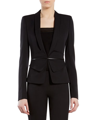 Black Silk Wool Butterfly-Waist Jacket