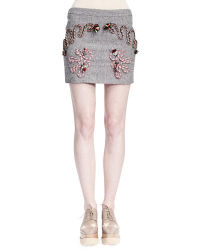 Corded Rope-Applique Tweed Skirt