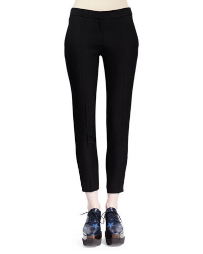 Slim-Leg Wool Twill Pants, Black