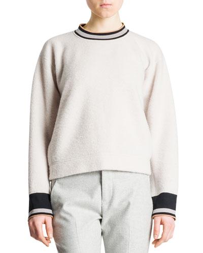 Banded-Trim Boxy Sweater, Ivory