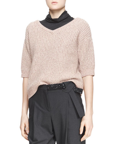Ribbed Half-Sleeve Sweater