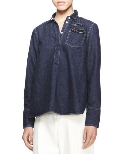 Long-Sleeve Boyfriend Denim Shirt
