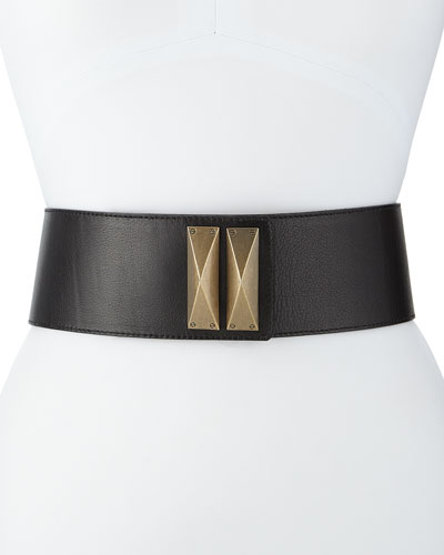 Wide Leather Waist Belt, Caviar