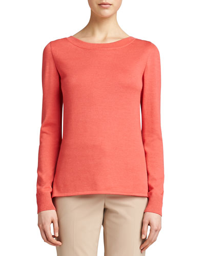 Knit Jewel-Neck Sweater, Pink Grapefruit