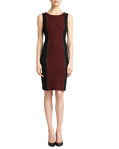 Sleeveless Knit Bateau Neck Dress, Caviar/Venetian