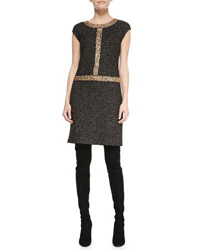 Cap-Sleeve Tweed Dress, Caviar/Multi