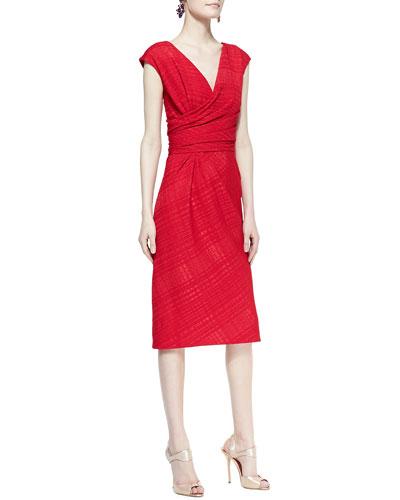 Cap-Sleeve Cross-Waist Sheath Dress