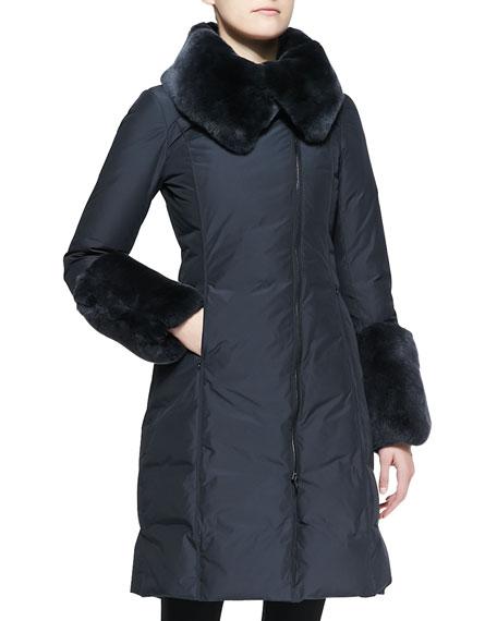 37a9fe9ed61d Armani Collezioni Rabbit Fur-Trim Long Puffer Coat