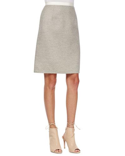 Contrast-Waist Wool A-Line Skirt