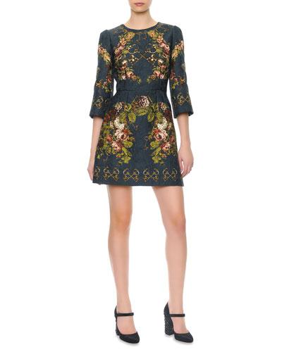3/4-Sleeve Floral & Key-Print Dress