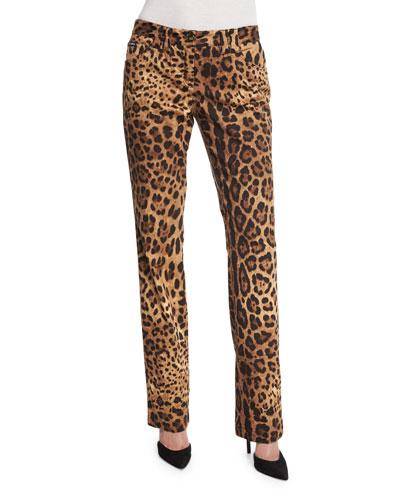 Cropped Leopard-Print Brocade Pants