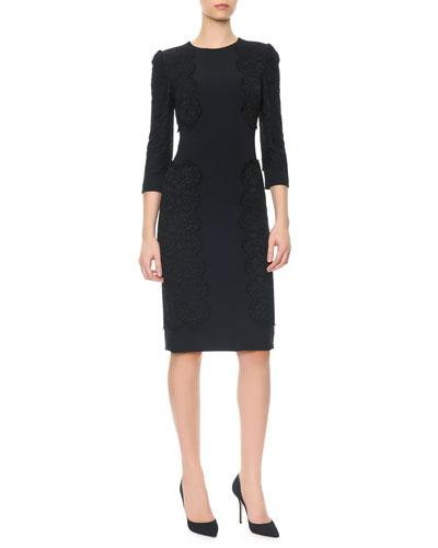 3/4-Sleeve Cady Dress with Appliqu??s