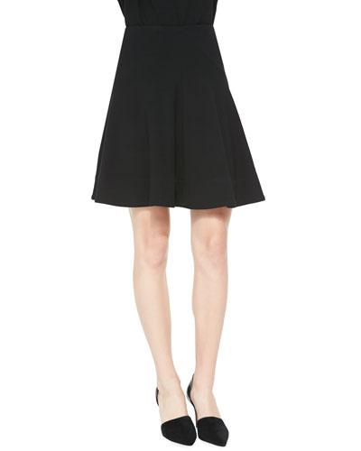 Seamed A-Line Skirt, Black