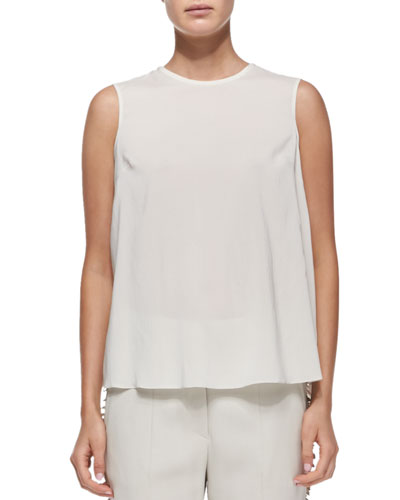 Sleeveless Tiered-Back Blouse