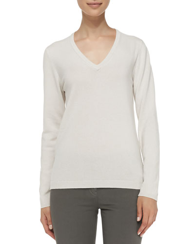 Cashmere Elbow-Patch Pullover Sweater, Vanilla