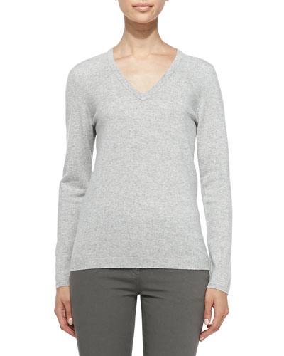 Cashmere Elbow-Patch Pullover Sweater, Light Gray