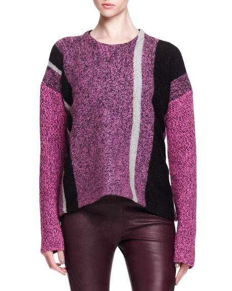 ef758e1b85 T by Alexander Wang Boiled Tweed Striped Pullover Sweater