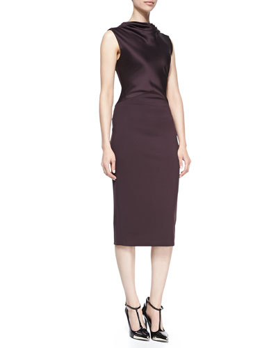 Satin/Ponte Sheath Dress, Eggplant