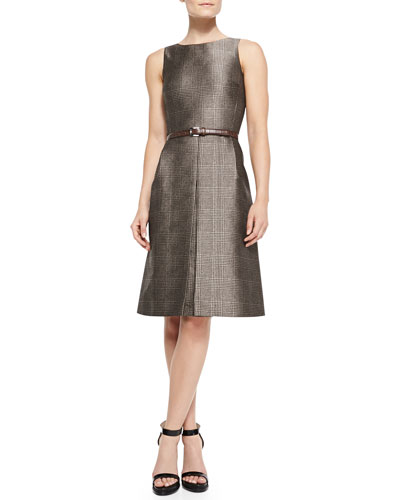 Belted Plaid A-Line Dress