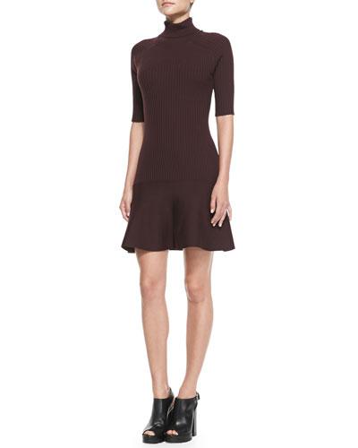 Ribbed Flare-Hem Turtleneck Dress