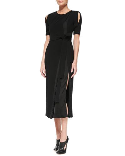 Slit-Shoulder Belted Jersey/Satin Sheath Dress