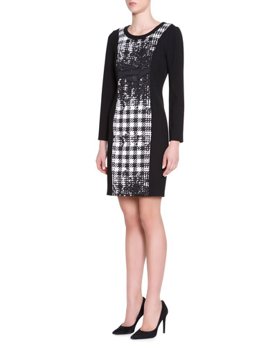 Long-Sleeve Abstract Houndstooth Dress