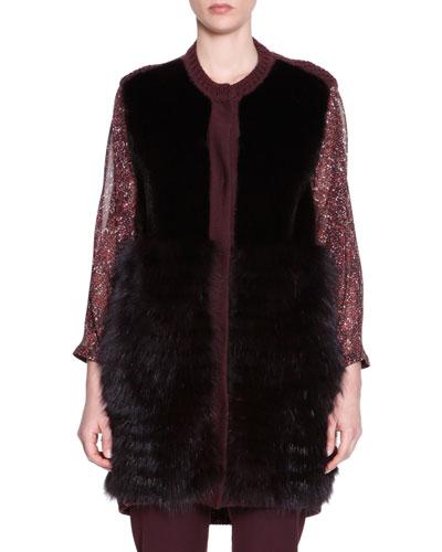 Mink & Fox Fur Knit-Trim Vest