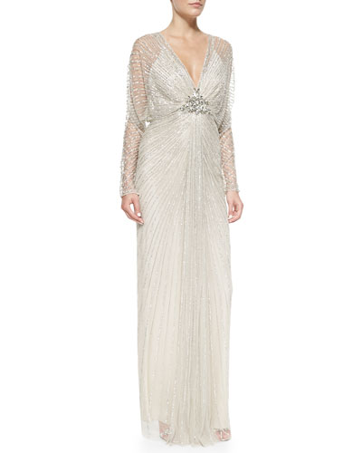 Sheer-Sleeve Fanned Beaded Gown