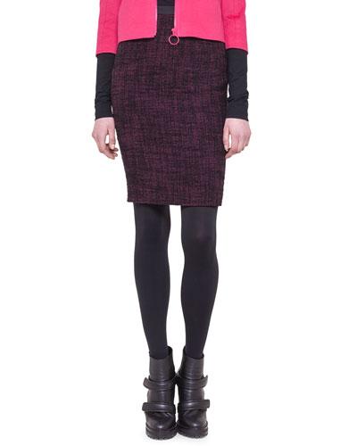Tweed Neoprene-Waist Pencil Skirt