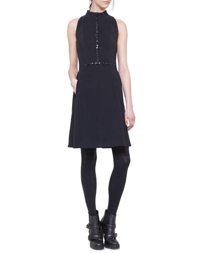 Sleeveless Embellished Neoprene Dress