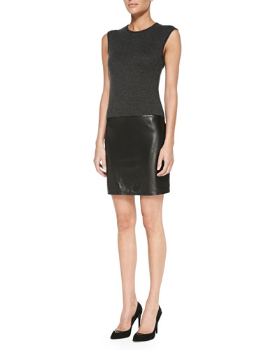 Cap-Sleeve Weekend Cashmere & Leather Dress, Gray