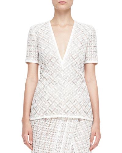 Short-Sleeve V-Neck Lace Top