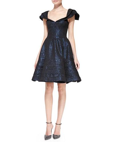 Cap-Sleeve Jacquard Party Dress
